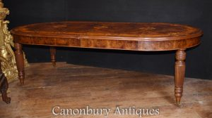 Victorian Walnut Dining Table Marquetry Inlay