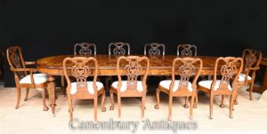 Walnut Victorian Dining Set Inlay Table George II Chairs Suite