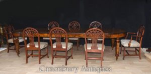Walnut Victorian Dining Table Set with Hepplewhite Chairs