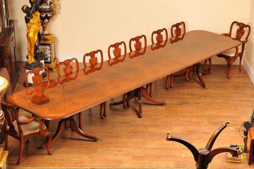 Large Regency Dining Table - Walnut Pedestal Tables Seats 18 People