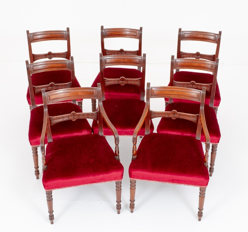 Set Regency Dining Chairs Mahogany Antique