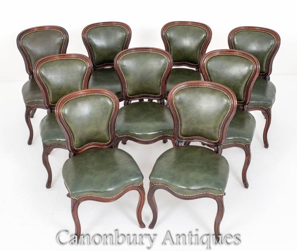 Set Victorian Dining Chairs Antique Leather 1870