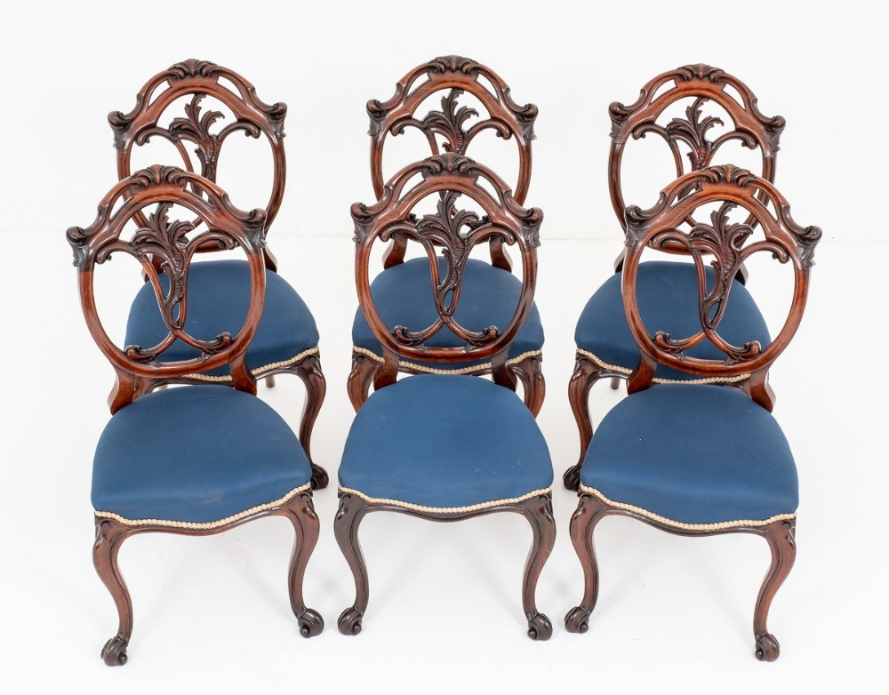 Set Victorian Dining Chairs Cabriole Leg