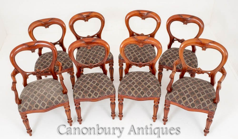 Set Victorian Dining Chairs - Mahogany Balloon Back Antique